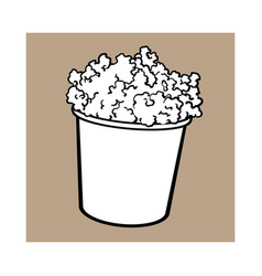 cinema popcorn in a big black and white striped vector image