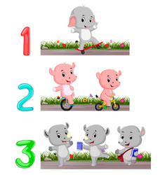 Counting numbers with animals vector