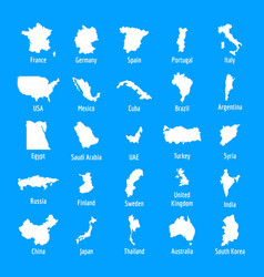 country map icon set simple style vector image