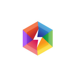 creative flash colorful hexagon lightning logo vector image