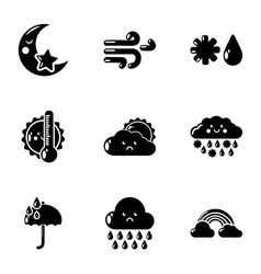 Damp weather icons set simple style vector