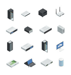 Data center icon set vector