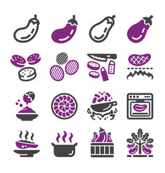 Eggplant icon set vector
