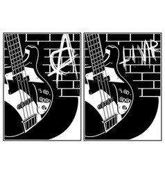 Electric guitar and brick wall background vector