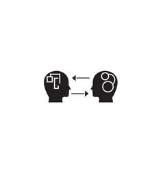 Emotional intelligence black concept icon vector