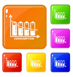 Energy battery consumption icons set color vector