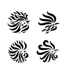 Fire Rooster set vector