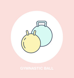 fit ball icon line logo flat sign for gymnastics vector image