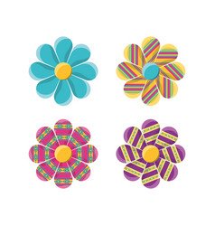Flat decoration flowers with ornamental symbols vector