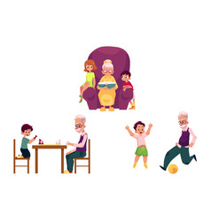 Flat grandparents and children set vector
