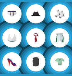 Flat icon dress set of heeled shoe underclothes vector