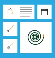 Flat icon garden set of hosepipe tool barbecue vector