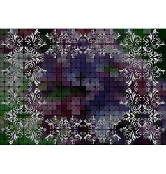 Floral frame on mosaic background vector image