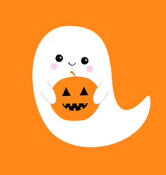 Flying ghost spirit holding pumpkin boo happy vector
