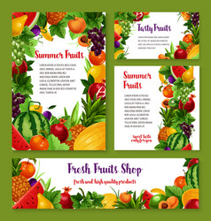 fresh fruits cards and posters vector image vector image