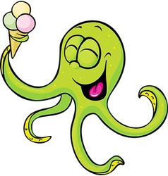 funny octopus with ice cream isolated on white vector image