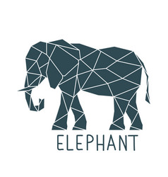 geometric polygonal elephant print with lettering vector image