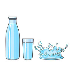 Glass cup bottle splash of cold water vector