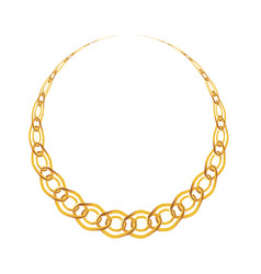 Gold chain jewelry on white background vector