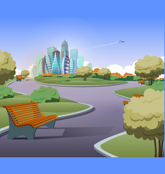 green parkland with trees in city vector image