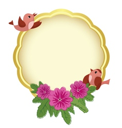 Greeting golden frame with birds vector