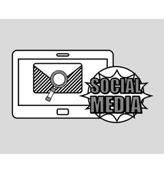 Hand drawing email search social media mobile vector