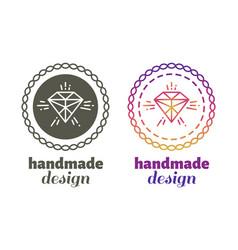 hand made design labels - craft emblems vector image