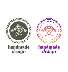 Hand made design labels - hand craft emblems vector