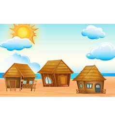 Huts on beach vector