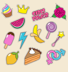 ice cream princess crown and candy lollipop vector image