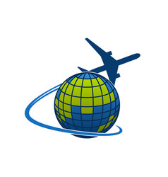 Icon of airplane jet over globe world vector