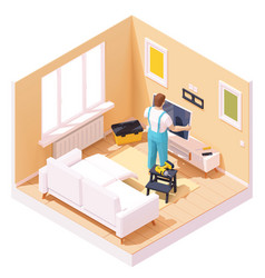 Isometric man at tv installation vector