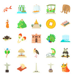 Journey icons set cartoon style vector