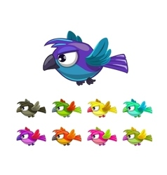 Little cartoon flying birds set vector image