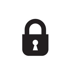 lock - black icon on white background vector image