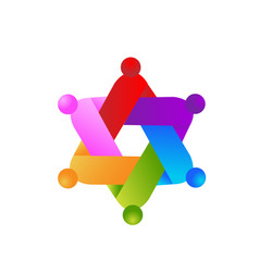 Logo ribbon teamwork people symbol icon vector