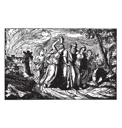 Lot and his daughters are led away from sodom by vector