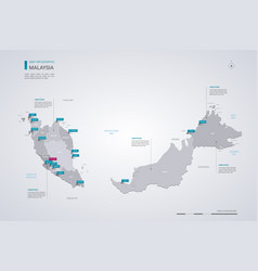 Malaysia map with infographic elements pointer vector