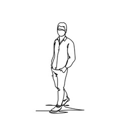 male silhouette sketch hand drawn doodle business vector image