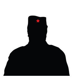 man silhouette with red star on hat vector image