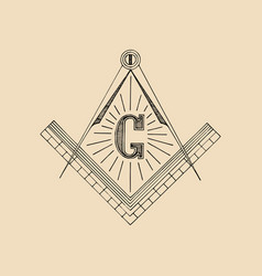 Masonic square and compass symbol emblem logo vector