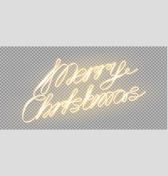 meery christmas glowing lettering for xmas vector image