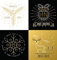 Merry christmas outline gold set bauble deer holly vector