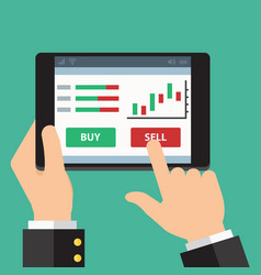 Mobile foreign exchange trading flat design vector