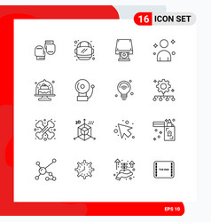 Modern set 16 outlines pictograph cakes vector
