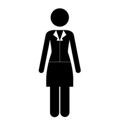 monochrome pictogram of business woman in dress vector image