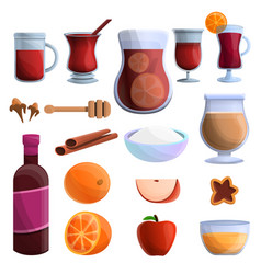 mulled wine icons set cartoon style vector image