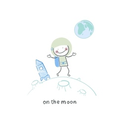 on the moon vector image