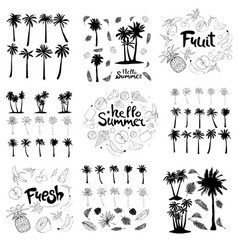 palm trees icons set vector image