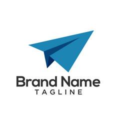 Paper plane origami logo template vector